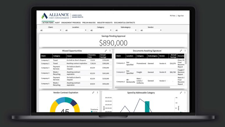 Alliance Cost Containment Savings Portal Screenshot Overview