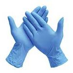 Blue latex powder free gloves to protect from Coronavirus