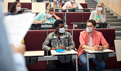 College students in face masks